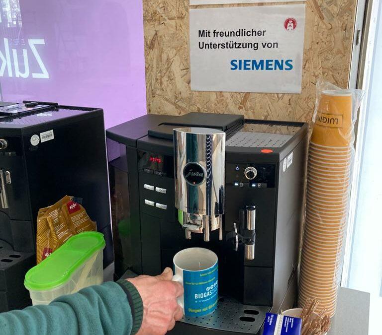 Köstlicher Kaffee dank Spende von Siemens